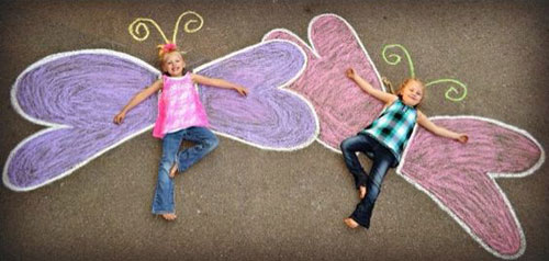 22 Totally Awesome Sidewalk Chalk Ideas - Fancy Butterfly Chalk Art