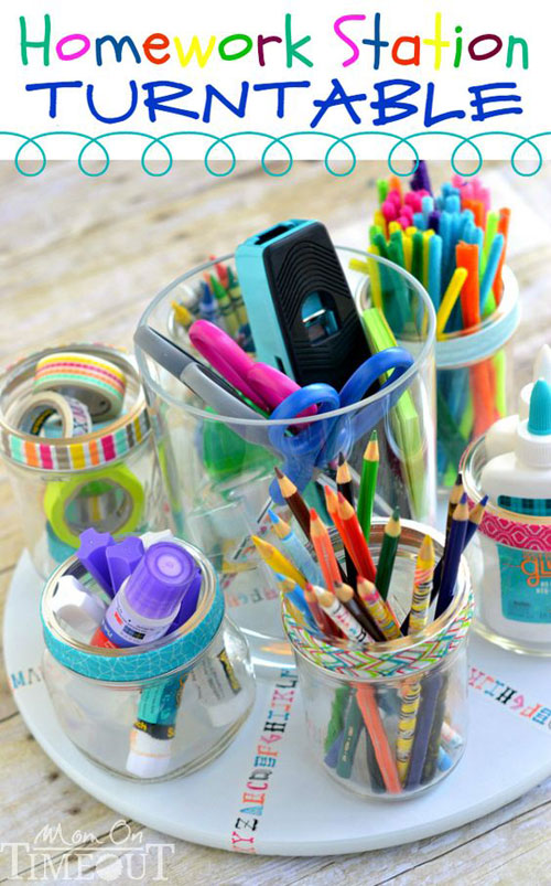 24 Back to School Organization Ideas - Homework Station Turntable