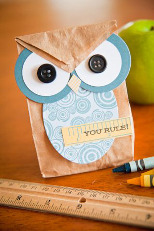 25 Back to School Craft Ideas - Little Owl Snack Bag