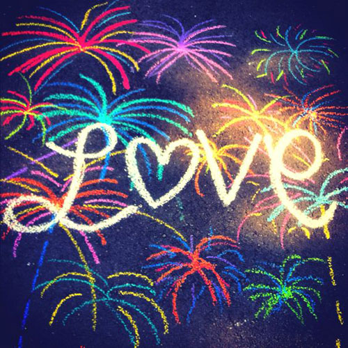 22 Totally Awesome Sidewalk Chalk Ideas - Love and Fireworks Sidewalk Chalk Art
