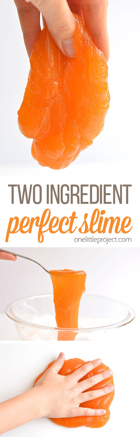 You won't believe what the other ingredient is! This two ingredient slime is SO EASY and it's so much fun!! Such a cool experiment and it's borax free!