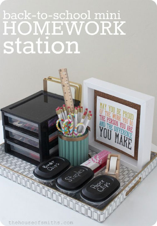 24 Back to School Organization Ideas - Mini Homework Station