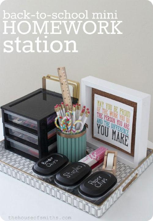 24 Back to School Organization Ideas - Mini Homework Station