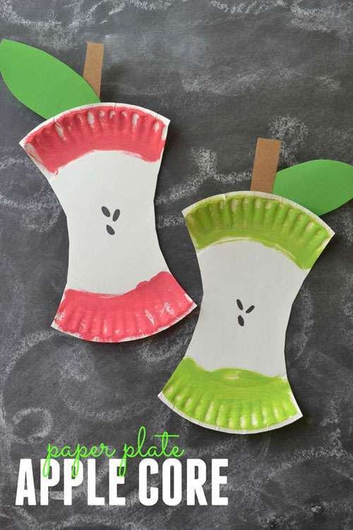 25 Back to School Craft Ideas - Paper Plate Apple Core