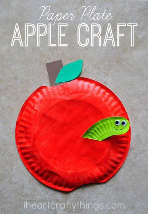 25 Back to School Craft Ideas - Paper Plate Apple Craft