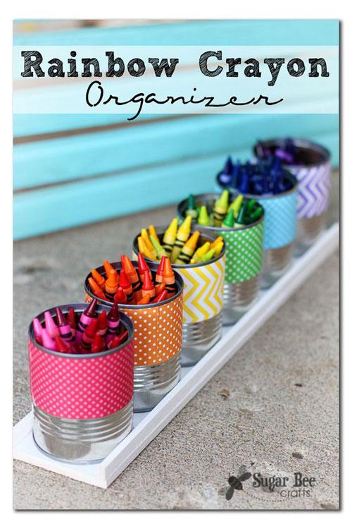 25 Back to School Craft Ideas - Rainbow Crayon Organizer
