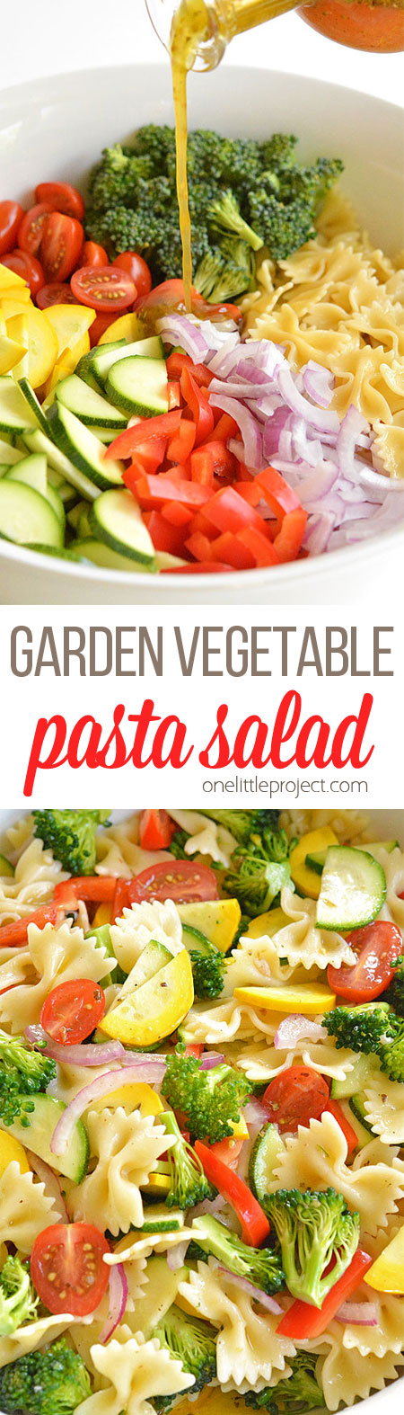 This garden vegetable pasta salad is SO GOOD! It's loaded with fresh ingredients in almost all the colours of the rainbow so you KNOW it's healthy! Such a great recipe for summer!