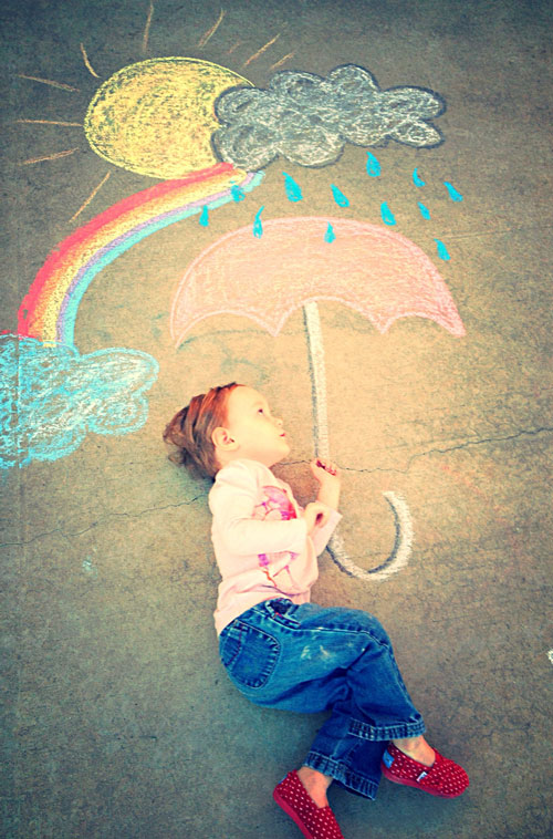 22 Totally Awesome Sidewalk Chalk Ideas - Rainbow and Umbrella