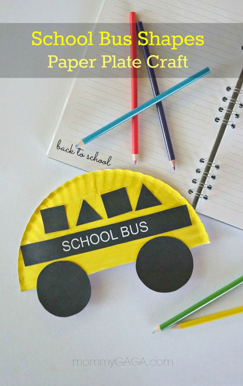 25 Back to School Craft Ideas - School Bus Paper Plate Craft