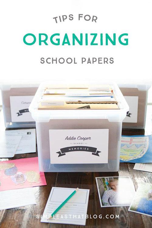 24 Back to School Organization Ideas - School Paper Organizer