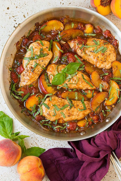 50+ Best Peach Recipes - Balsamic Peach Chicken Skillet