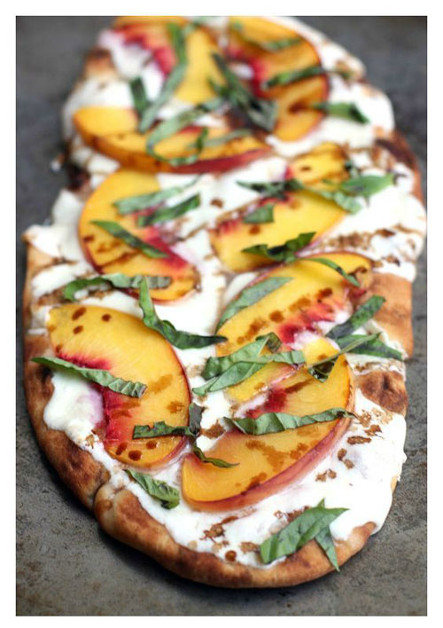 50+ Best Peach Recipes - Peach, Basil & Mozzarella Flatbreads