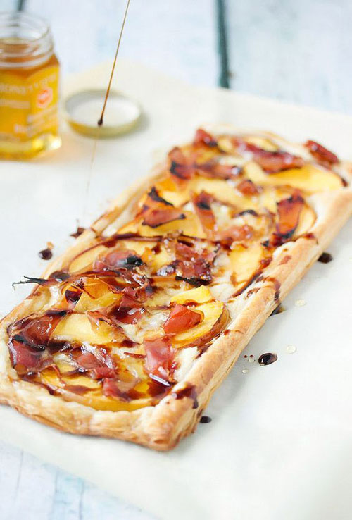 50+ Best Peach Recipes - Peach, Proscuito & Brie Tart