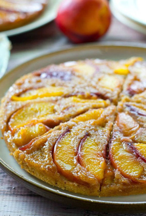 50+ Best Peach Recipes - Peach Upside-Down Coffee Cake