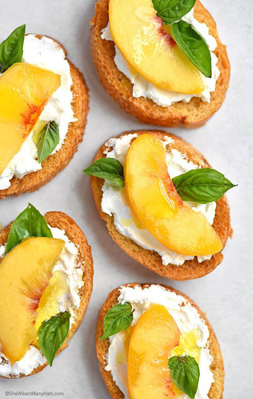 50+ Best Peach Recipes - Peach and Goat Cheese Brushetta