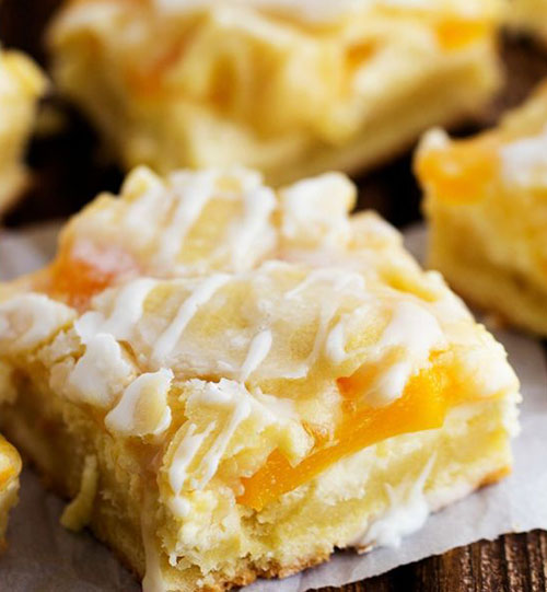 50+ Best Peach Recipes - Peaches and Cream Pie Bars