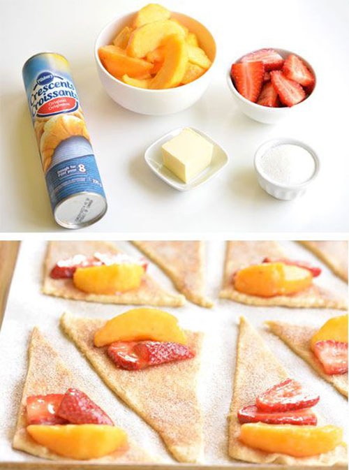50+ Best Peach Recipes - Strawberry Peach Pie Bites