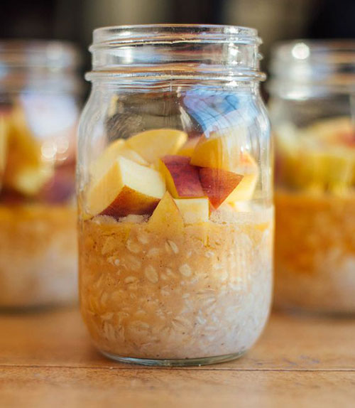 50+ Best Peach Recipes - Vanilla Peach Overnight Oats