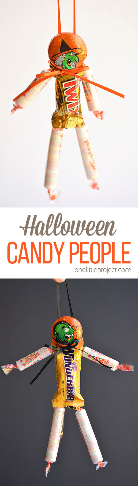 These Halloween candy people are such an ADORABLE and easy treat idea to send to school or give out as party favours! And it's easy to make them peanut free and school safe. So cute!