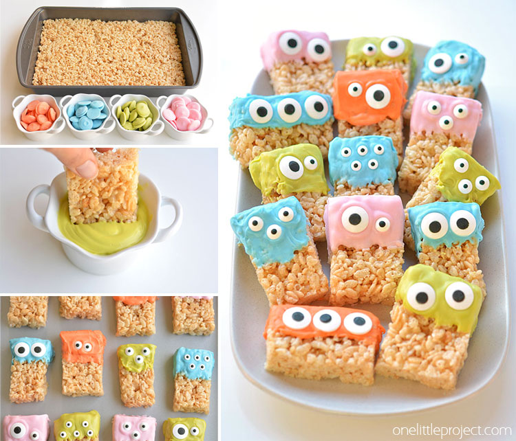 these rice krispie treat monsters are so easy and theyre completely adorable so