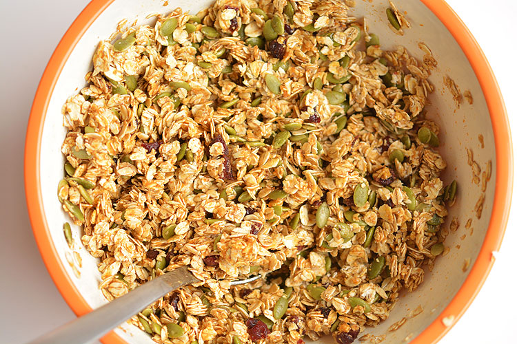 These no-bake pumpkin breakfast bites are SO EASY! Packed with pumpkin, pumpkin seeds and dried cranberries they taste amazing and actually keep you full! Great for breakfast on the go!