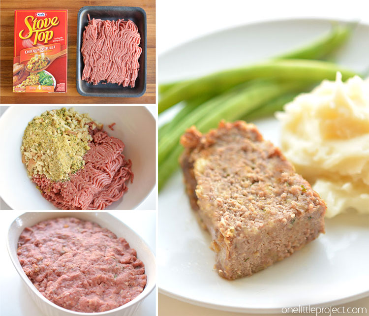 This easy meat loaf recipe is made with STUFFING MIX and it's so good! Only 3 ingredients and it's ready to go in the oven in about 2 minutes! Such a delicious and easy dinner idea!