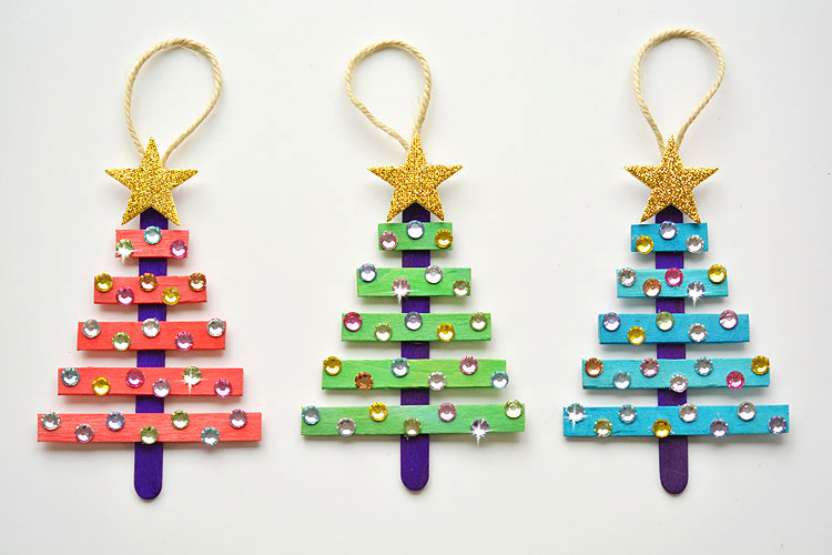 Christmas Tree Craft.Glittering Popsicle Stick Christmas Trees