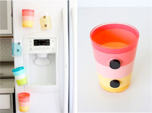 25 Hacks to Organize your Fridge - Glue magnets to plastic cups and store them on the fridge to help keep the counters uncluttered