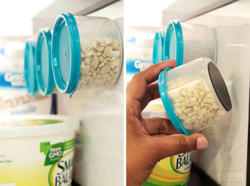 25 Hacks to Organize your Fridge - Glue magnets to small plastic containers to easily store your nuts, seeds and other items that normally come in small plastic bags