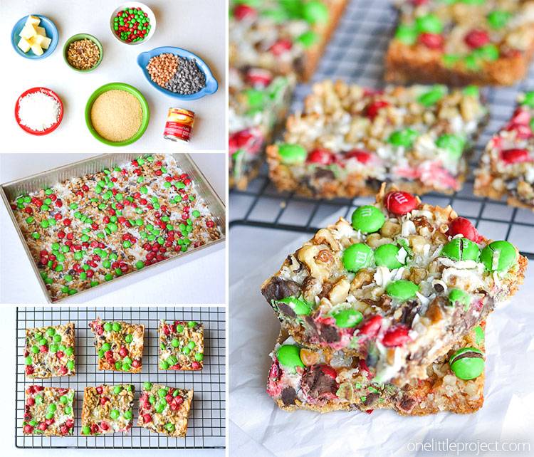 These Christmas magic cookie bars are SO GOOD! And they're so easy to make! Such an awesome family favorite and a delicious Christmas treat idea with the red and green M&M's!
