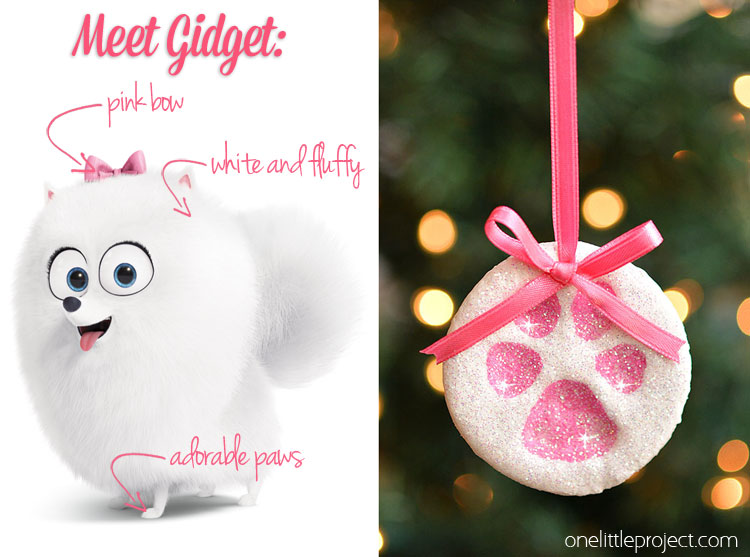 The Secret Life of Pets - Gidget inspired Paw Print Salt Dough Ornament