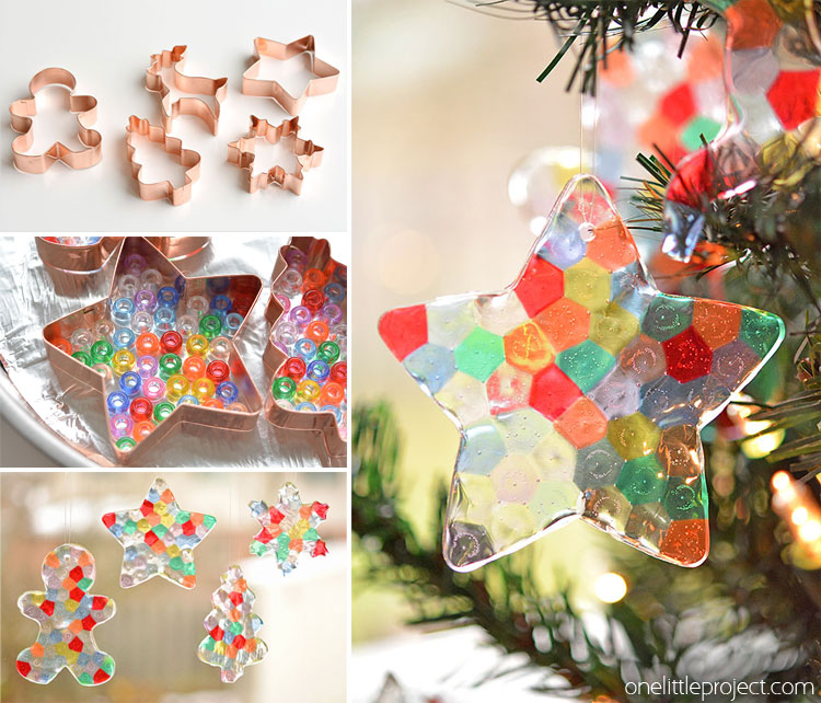 These melted bead ornaments are SO BEAUTIFUL! And they're so easy to make - Melted Bead Ornaments Pony Bead Christmas Ornaments