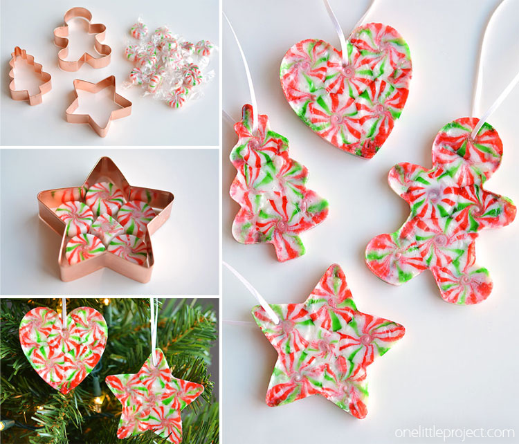 these melted peppermint candy ornaments are adorable and theyre super easy to make - Candy Christmas Decorations