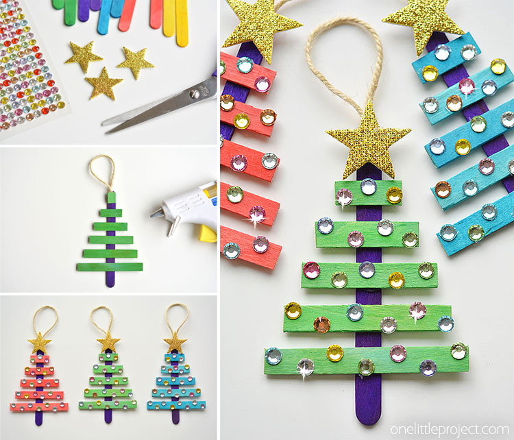 Glittering Popsicle Stick Christmas Trees made with Sticker Rhinestones