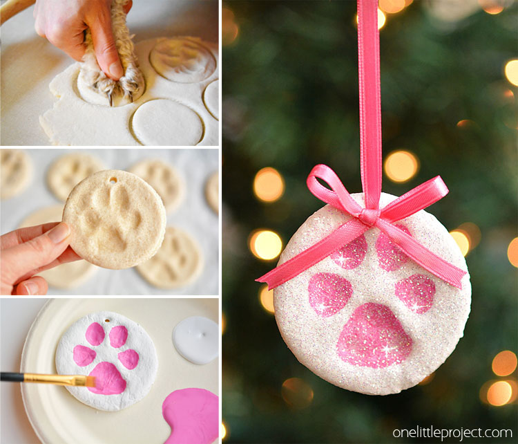 Paw Print Salt Dough Ornaments - One Little Project