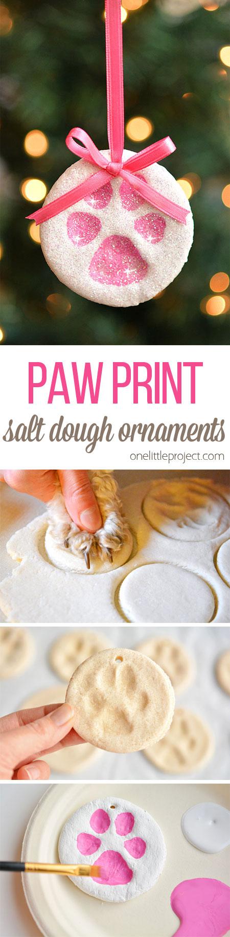 paw print salt dough ornaments one little project
