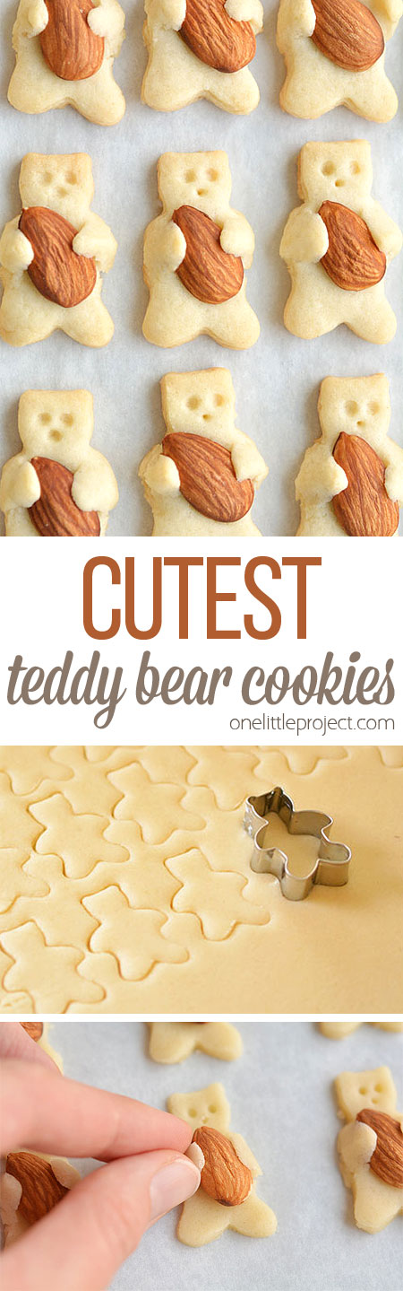 These teddy bear cookies are SO CUTE and they taste amazing!! They look like they are hugging the almonds! They're simple to make and completely adorable!