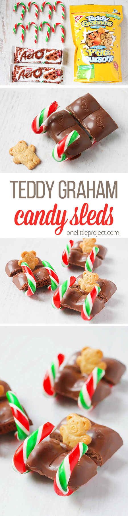 These candy cane teddy graham sleds are such an ADORABLE and simple Christmas treat idea!! They'd be perfect for a Christmas party or lunch box treat! So cute!