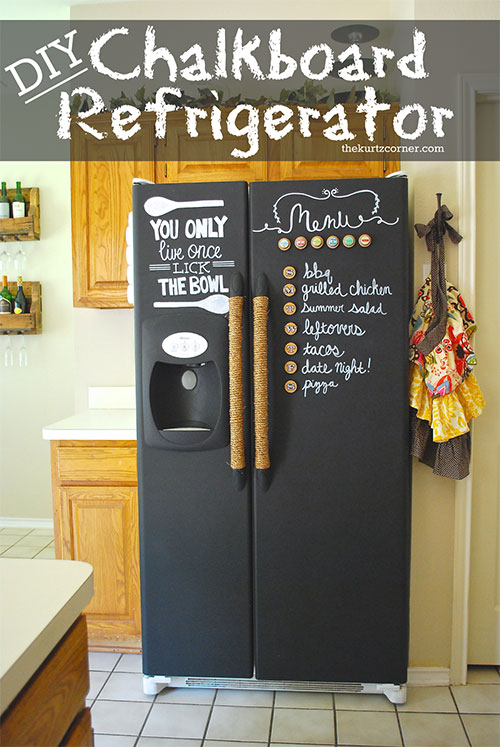 25 Hacks to Organize your Fridge - Use chalkboard paint on the outside of the fridge. Then you can write down what's inside, keep track of your shopping list, or just treat it like a command center for the house