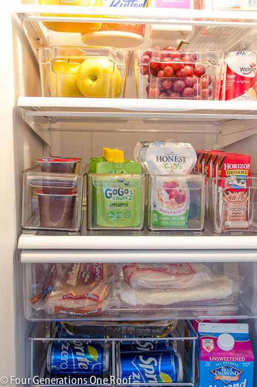 25 Hacks to Organize your Fridge - Use clear plastic bins to stay organized