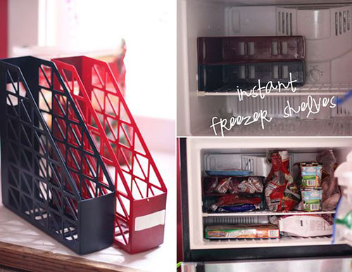 25 Hacks to Organize your Fridge - Use dollar store magazine holders to add instant shelves to your freezer