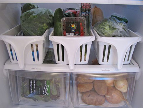 25 Hacks to Organize your Fridge - Use pull out plastic bins on the fridge shelves to make it easy to see what you have