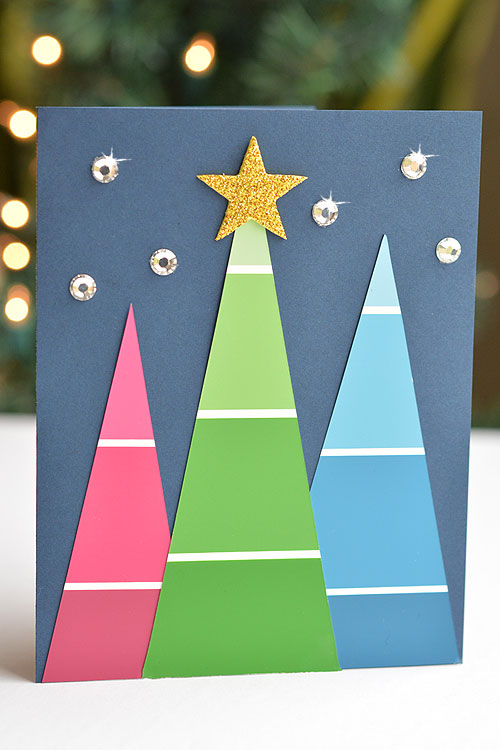 40+ Easy Christmas Crafts for Kids - Paint Chip Christmas Cards