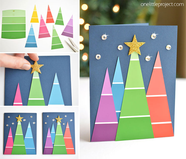 Paint Chip Christmas Cards | Paint Swatch Christmas Trees