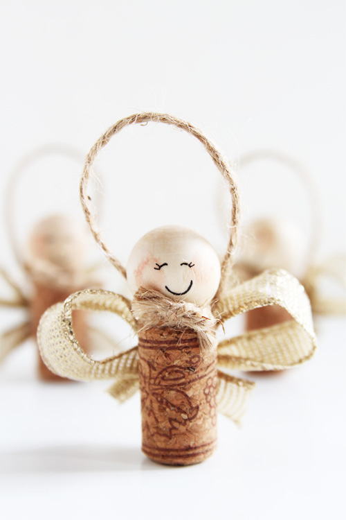 40+ Easy Christmas Crafts for Kids - Wine Cork Angels