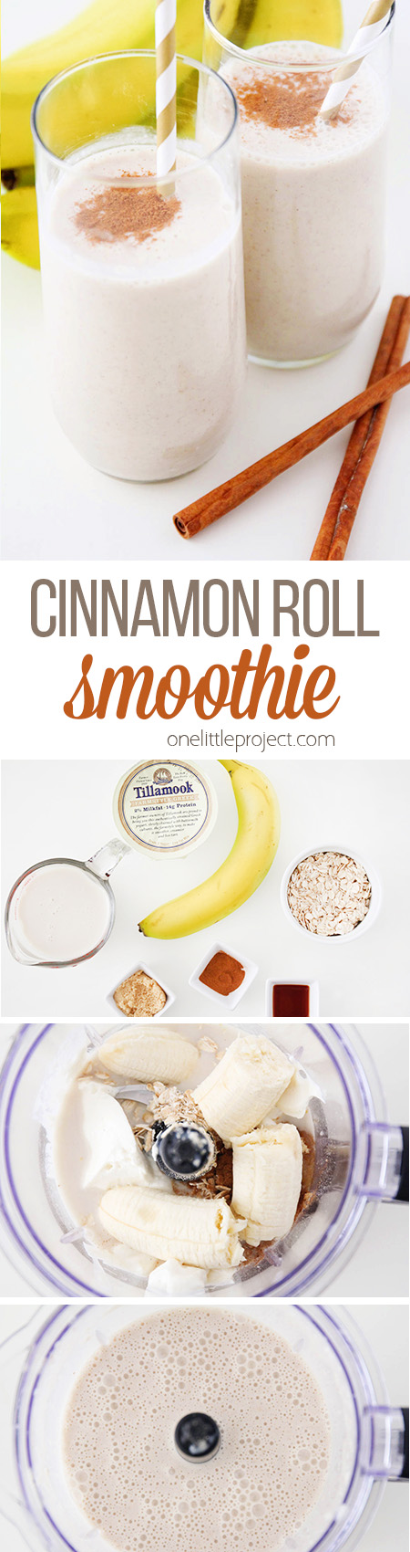 This cinnamon roll breakfast smoothie is SO GOOD and the perfect healthy way to start the day! It's loaded with protein and fiber, and so delicious too! Yum!