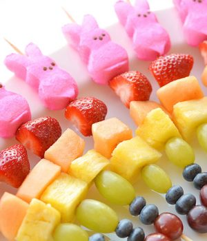 Easter Peeps Fruit Kabobs