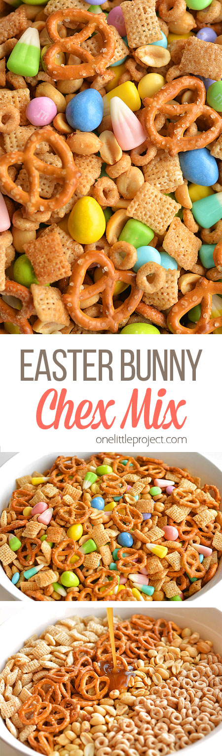 This Easter bunny Chex mix is the PERFECT combination of sweet and salty. It tastes soooooooo good!! And the colours are so beautiful for spring and Easter!