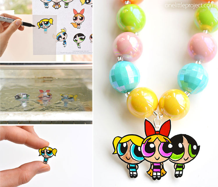 This Shrinky Dinks Powerpuff Girls jewelry is SO EASY to make and it looks completely adorable! Such a simple and awesome craft to do with the kids!