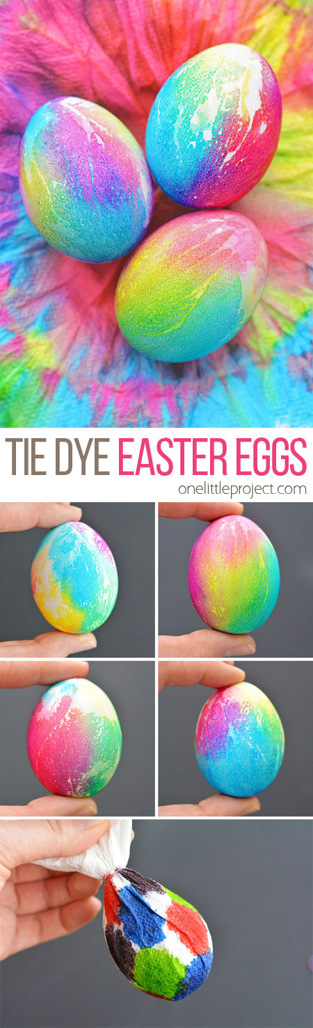 These tie dye Easter eggs are such a FUN way to decorate eggs and they're really easy to make! The colours are bold and bright and the eggs are completely safe to eat!